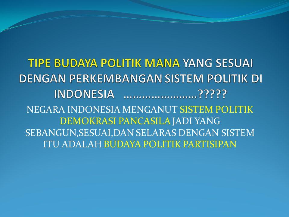 TIPE BUDAYA POLITIK MANA YANG SESUAI DENGAN PERKEMBANGAN SISTEM POLITIK DI INDONESIA ……………………