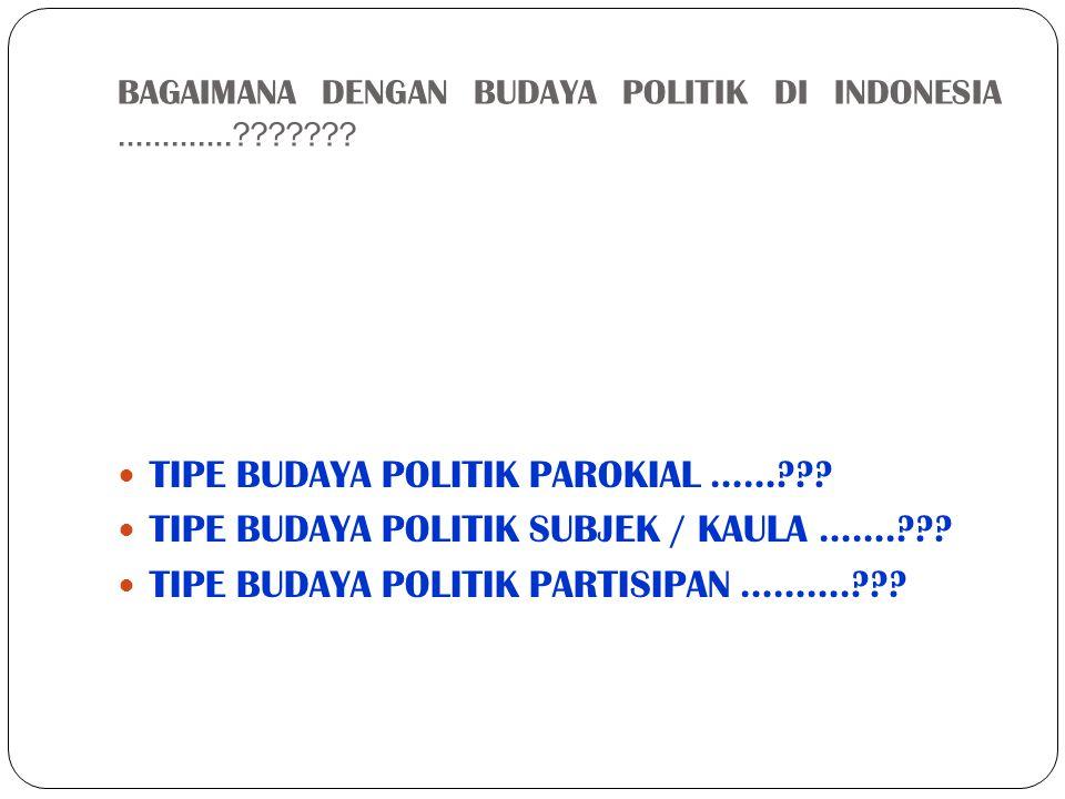 BAGAIMANA DENGAN BUDAYA POLITIK DI INDONESIA ………….