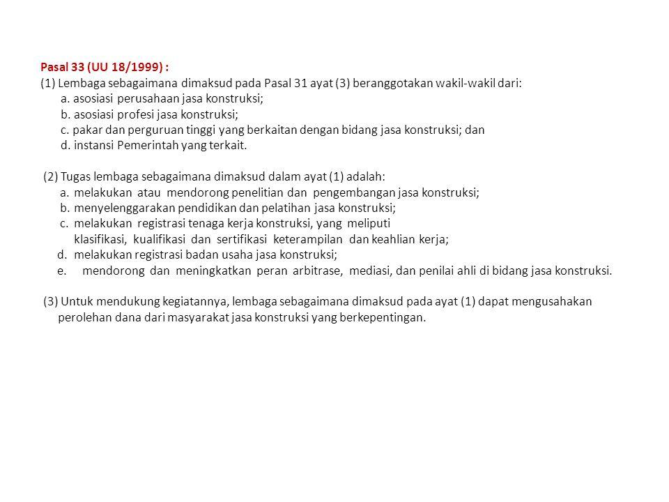 Pasal 33 (UU 18/1999) : (1) Lembaga sebagaimana dimaksud pada Pasal 31 ayat (3) beranggotakan wakil-wakil dari: