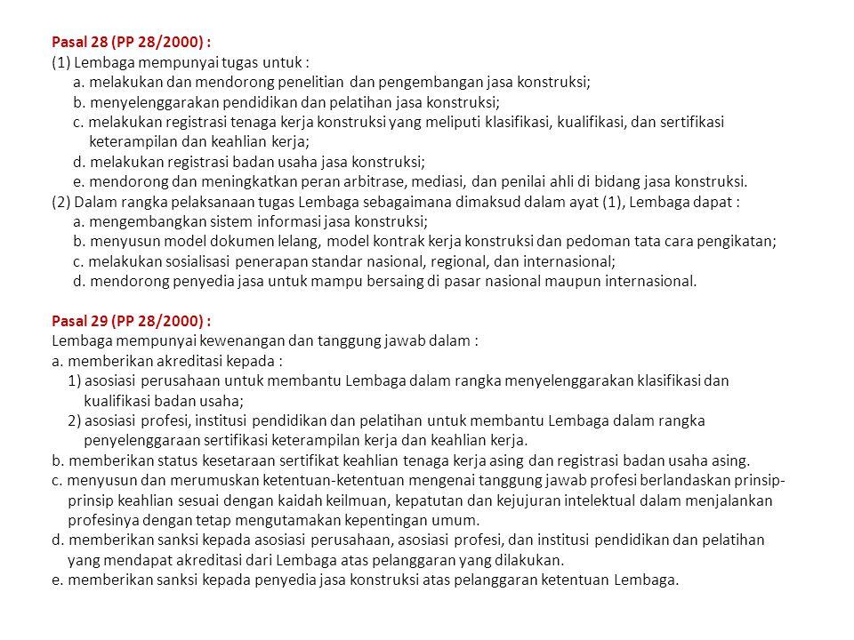 Pasal 28 (PP 28/2000) : (1) Lembaga mempunyai tugas untuk : a. melakukan dan mendorong penelitian dan pengembangan jasa konstruksi;