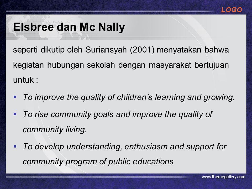 Elsbree dan Mc Nally seperti dikutip oleh Suriansyah (2001) menyatakan bahwa kegiatan hubungan sekolah dengan masyarakat bertujuan untuk :