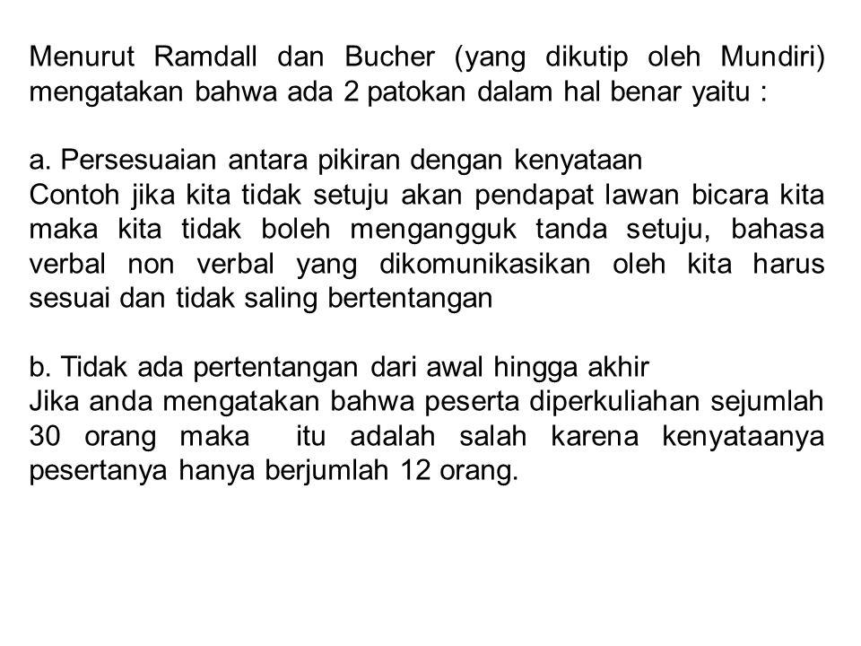 Menurut Ramdall dan Bucher (yang dikutip oleh Mundiri) mengatakan bahwa ada 2 patokan dalam hal benar yaitu :
