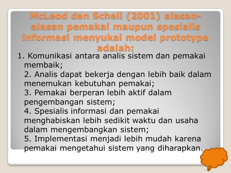 McLeod dan Schell (2001) alasan-alasan pemakai maupun spesialis informasi menyukai model prototype adalah: