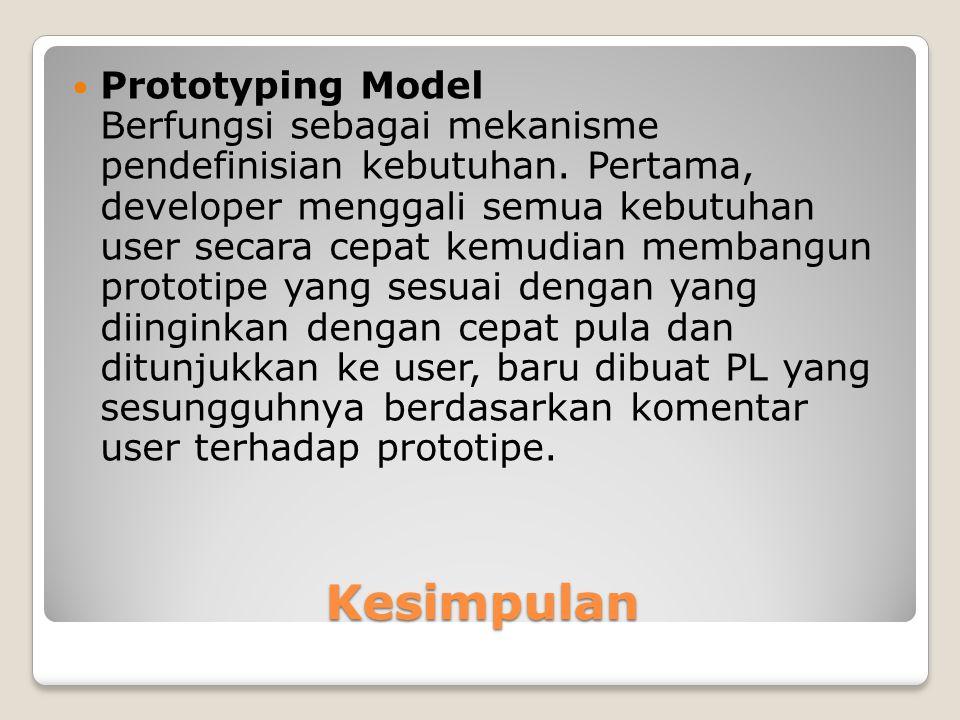 Prototyping Model Berfungsi sebagai mekanisme pendefinisian kebutuhan