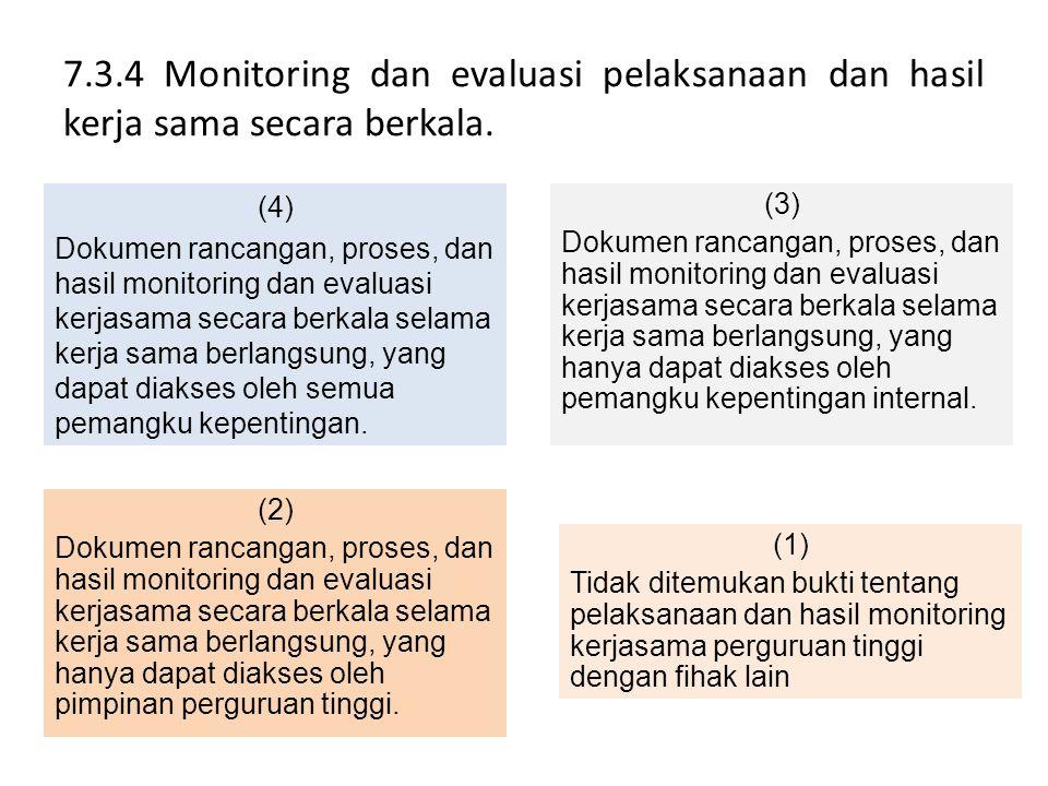 7.3.4 Monitoring dan evaluasi pelaksanaan dan hasil kerja sama secara berkala.