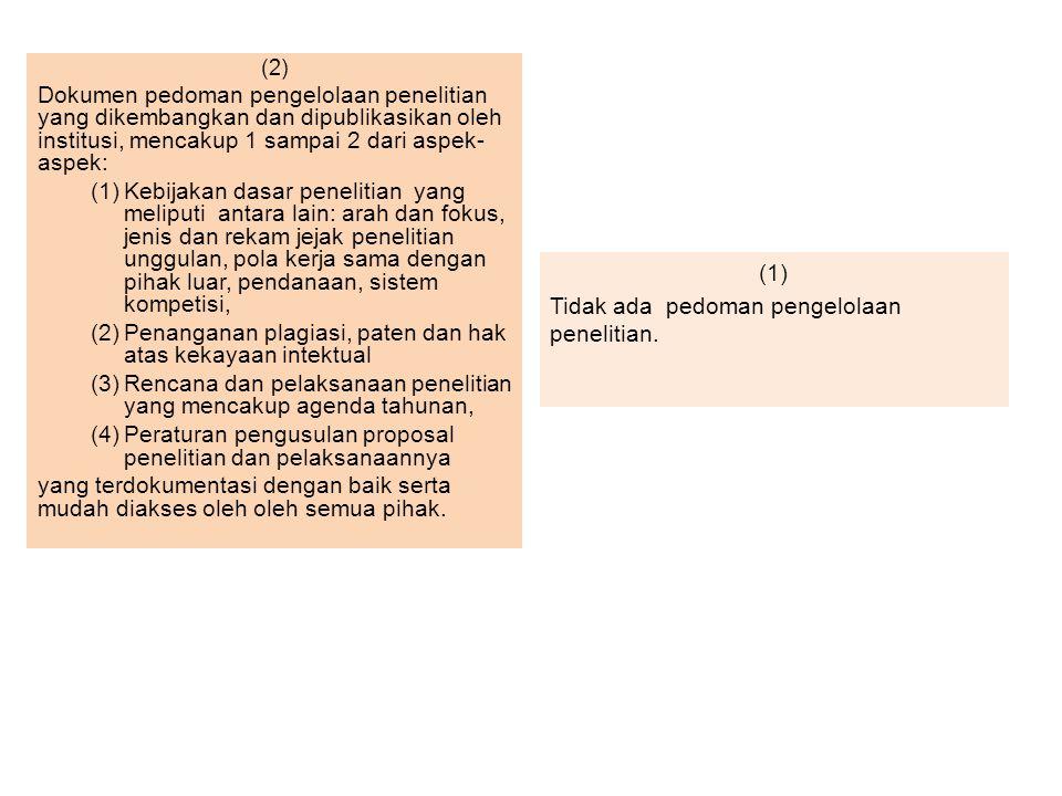 (1) Tidak ada pedoman pengelolaan penelitian.