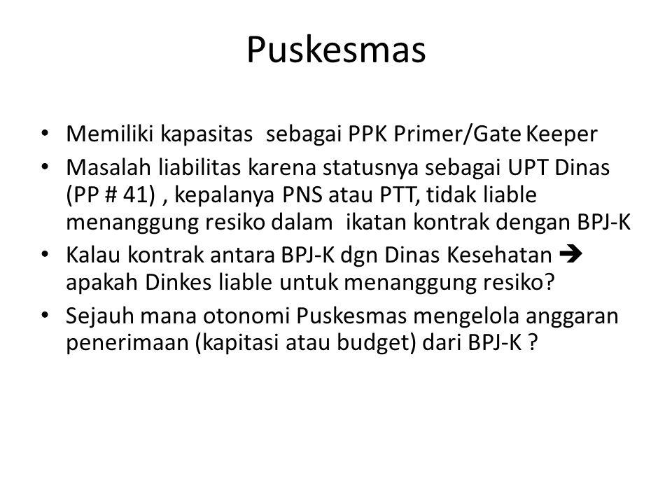 Puskesmas Memiliki kapasitas sebagai PPK Primer/Gate Keeper