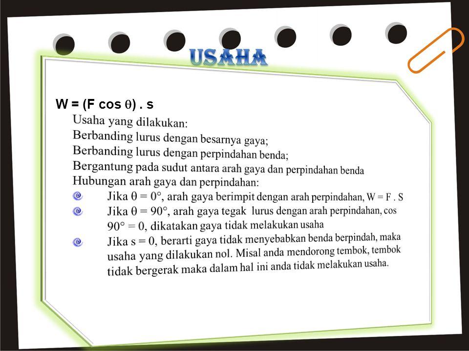 USAHA W = (F cos ) . s Usaha yang dilakukan: