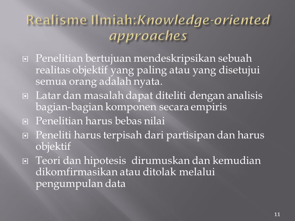 Realisme Ilmiah:Knowledge-oriented approaches