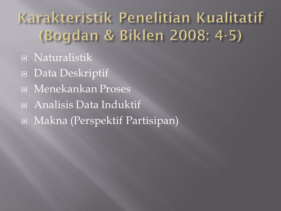 Karakteristik Penelitian Kualitatif (Bogdan & Biklen 2008: 4-5)
