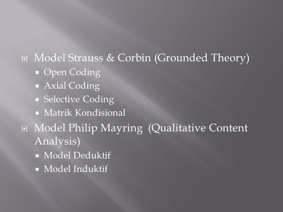 Model Strauss & Corbin (Grounded Theory)