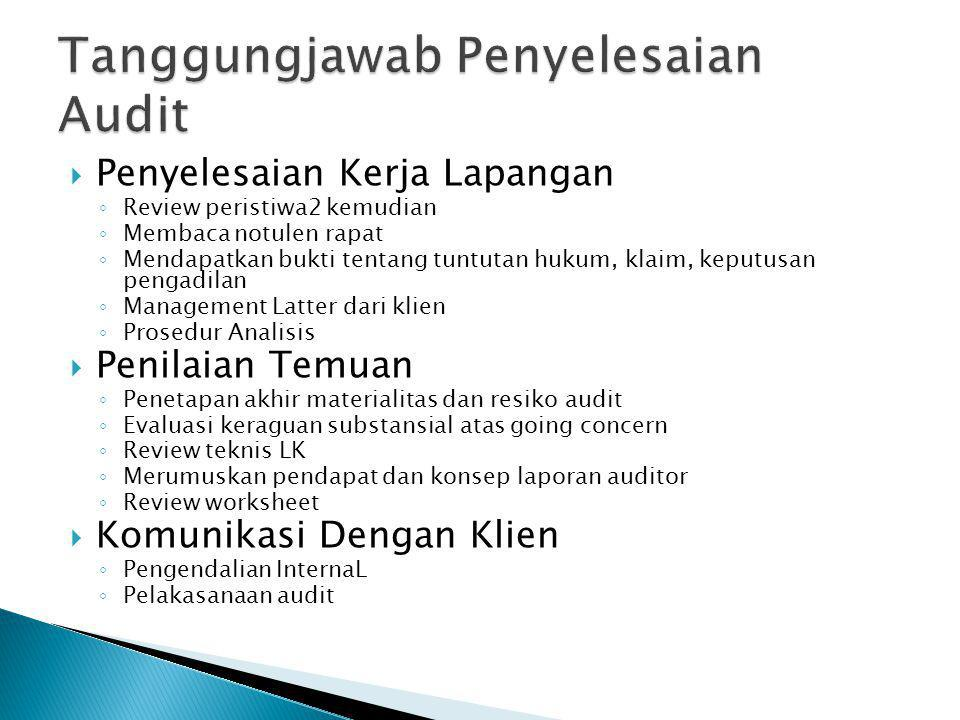Tanggungjawab Penyelesaian Audit