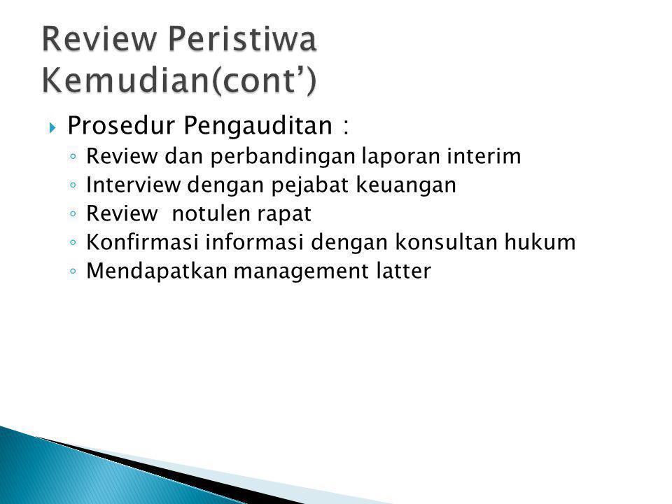 Review Peristiwa Kemudian(cont')