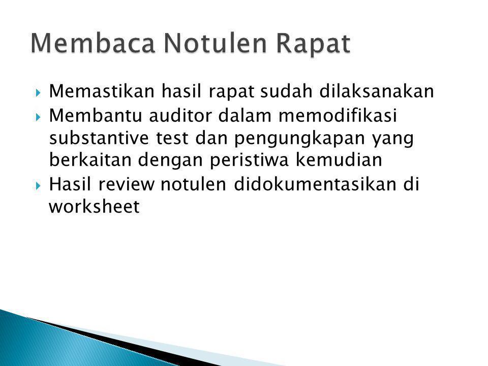 Membaca Notulen Rapat Memastikan hasil rapat sudah dilaksanakan