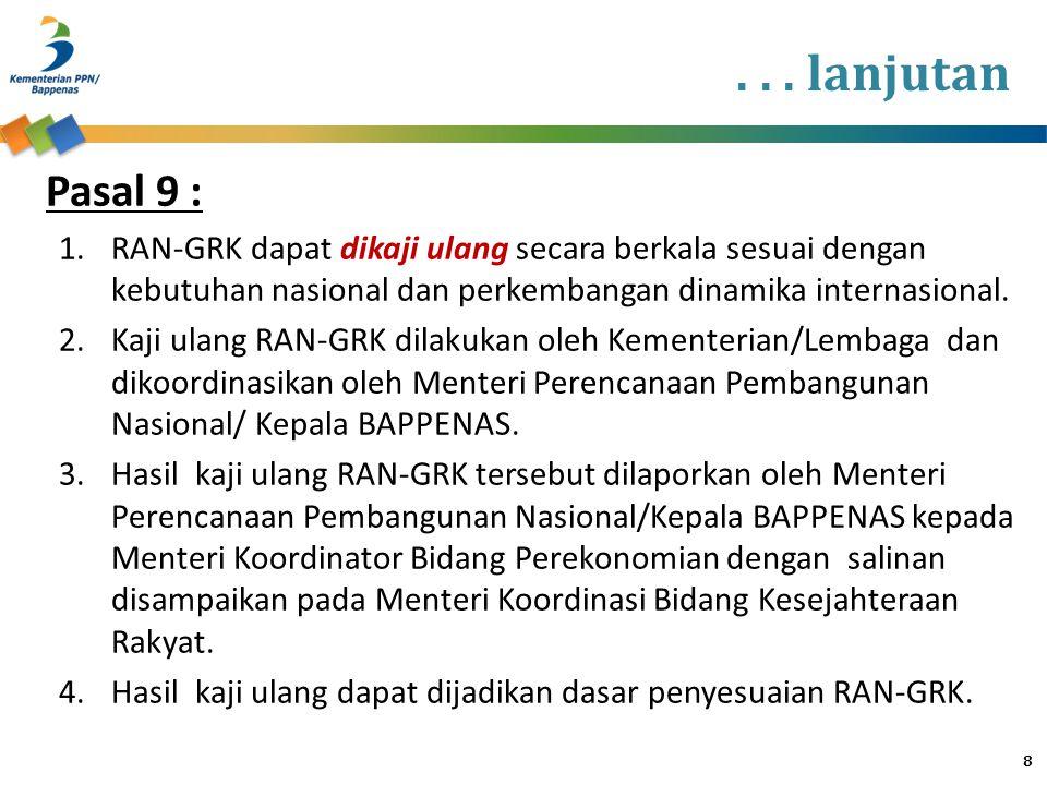 . . . lanjutan 4:52. Pasal 9 : RAN-GRK dapat dikaji ulang secara berkala sesuai dengan kebutuhan nasional dan perkembangan dinamika internasional.