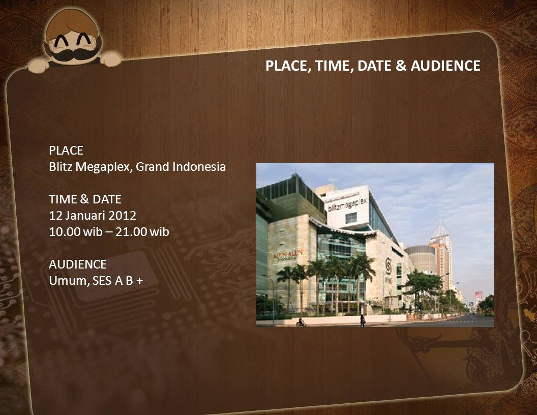PLACE, TIME, DATE & AUDIENCE
