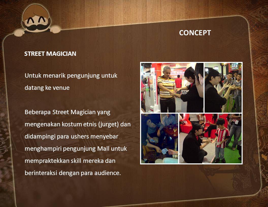 CONCEPT STREET MAGICIAN Untuk menarik pengunjung untuk datang ke venue
