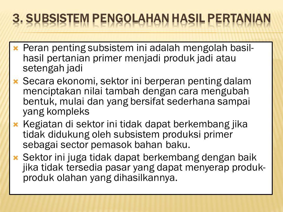 3. Subsistem Pengolahan Hasil Pertanian