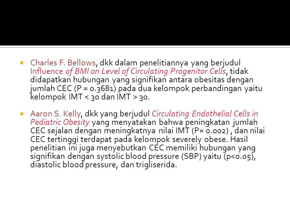 Charles F. Bellows, dkk dalam penelitiannya yang berjudul Influence of BMI on Level of Circulating Progenitor Cells, tidak didapatkan hubungan yang signifikan antara obesitas dengan jumlah CEC (P = 0.3681) pada dua kelompok perbandingan yaitu kelompok IMT < 30 dan IMT > 30.