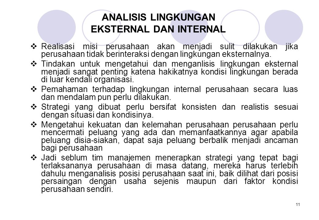 ANALISIS LINGKUNGAN EKSTERNAL DAN INTERNAL