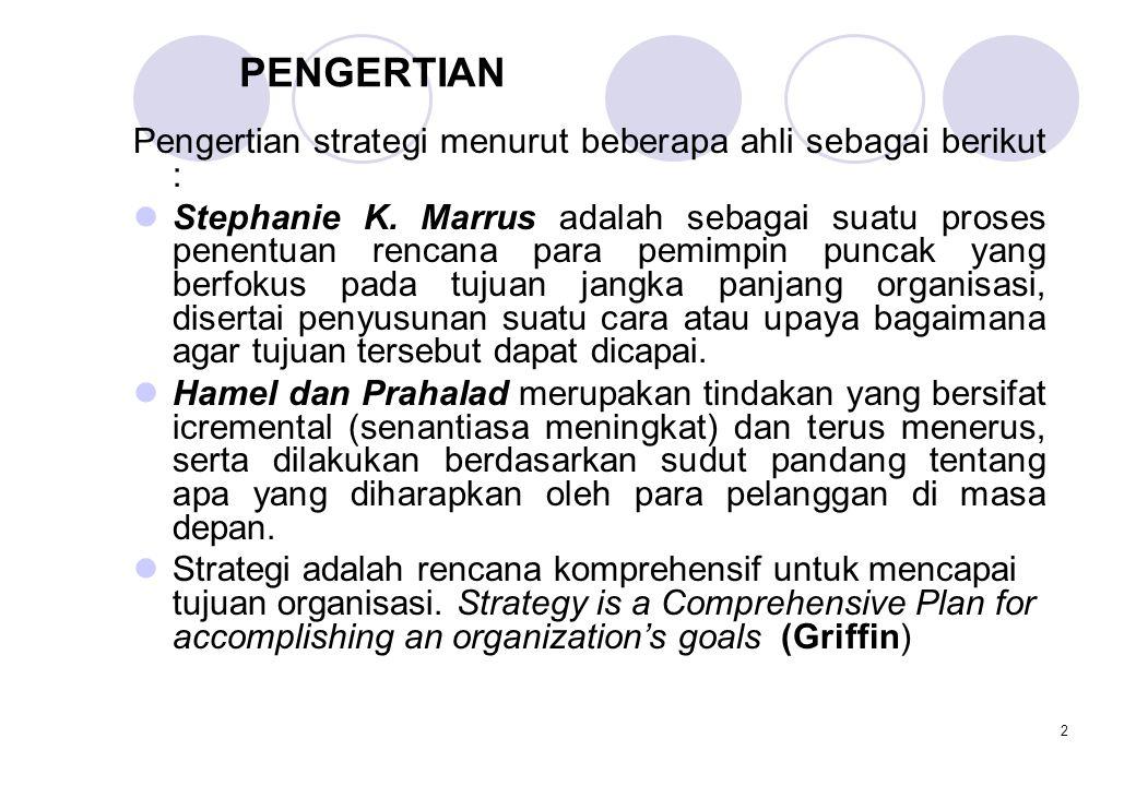 PENGERTIAN Pengertian strategi menurut beberapa ahli sebagai berikut :