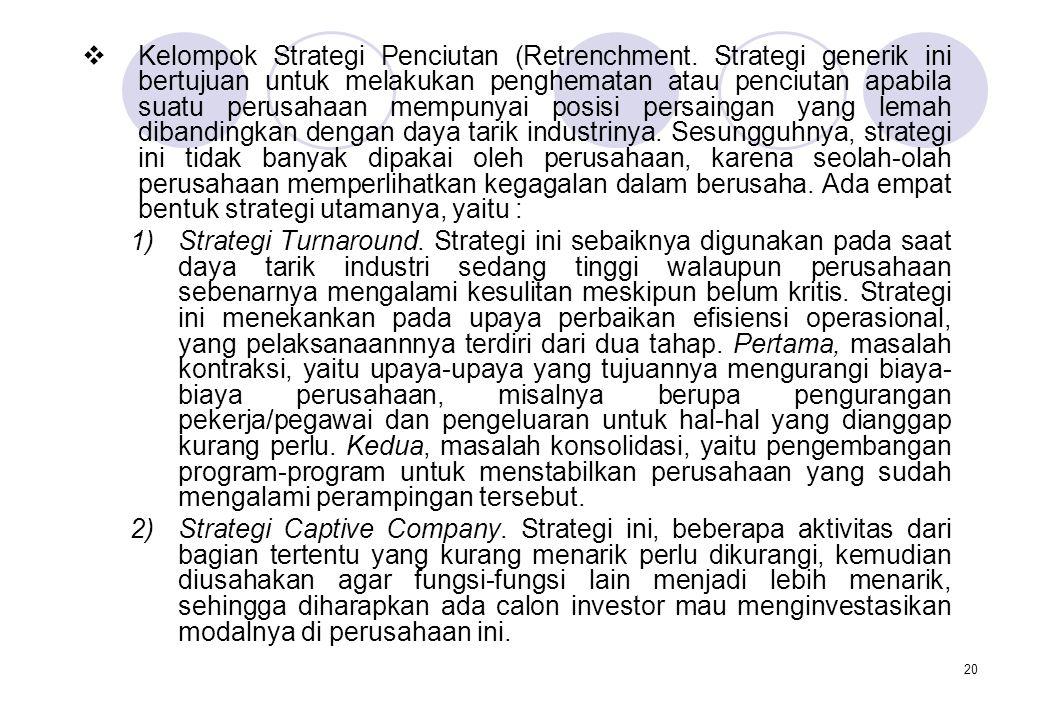 Kelompok Strategi Penciutan (Retrenchment