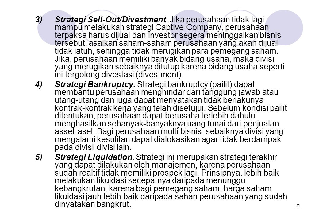 Strategi Sell-Out/Divestment