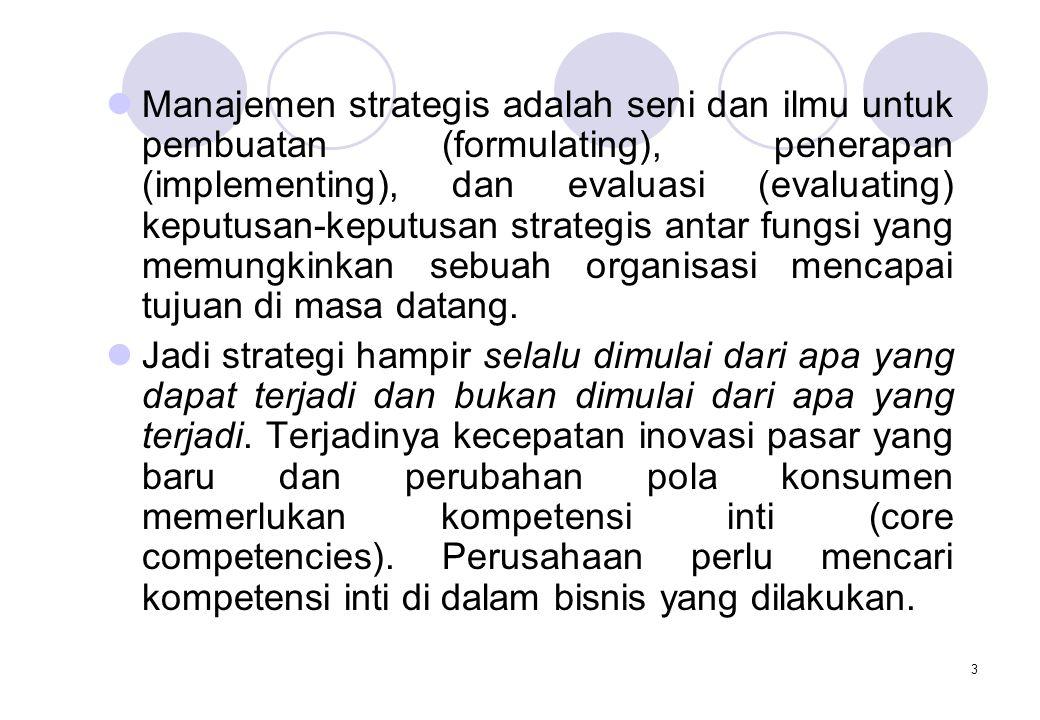 Manajemen strategis adalah seni dan ilmu untuk pembuatan (formulating), penerapan (implementing), dan evaluasi (evaluating) keputusan-keputusan strategis antar fungsi yang memungkinkan sebuah organisasi mencapai tujuan di masa datang.