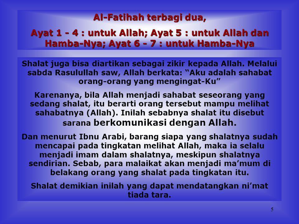 Al-Fatihah terbagi dua,