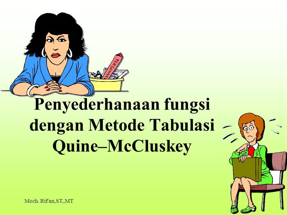 Penyederhanaan fungsi dengan Metode Tabulasi Quine–McCluskey