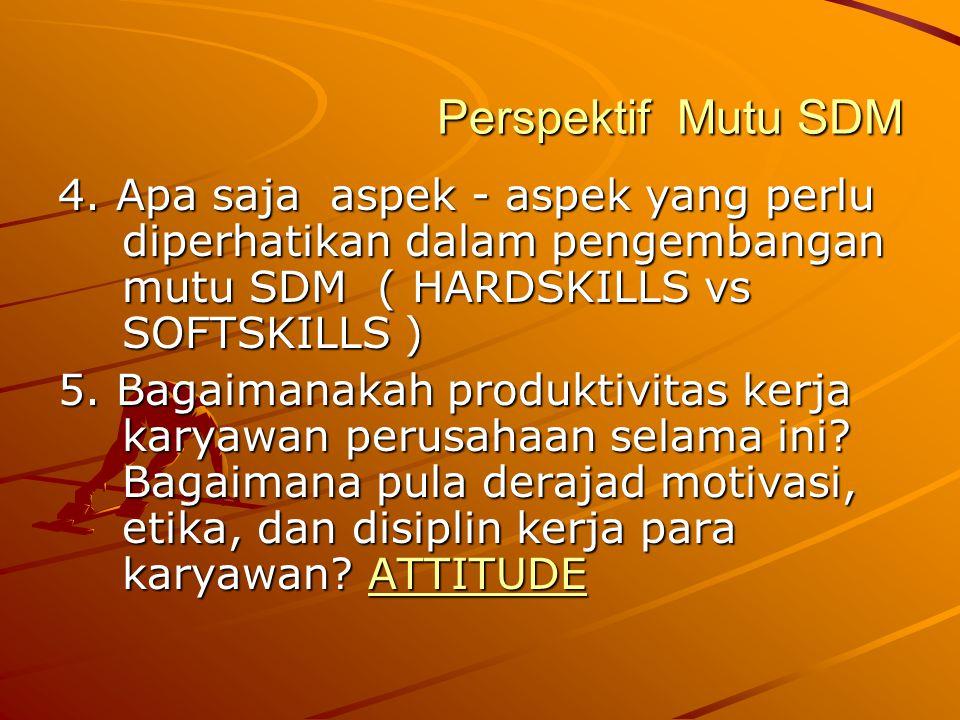 Perspektif Mutu SDM 4. Apa saja aspek - aspek yang perlu diperhatikan dalam pengembangan mutu SDM ( HARDSKILLS vs SOFTSKILLS )