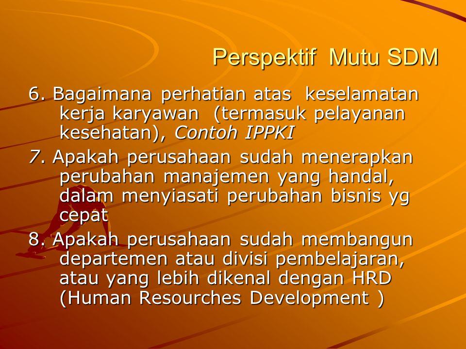 Perspektif Mutu SDM 6. Bagaimana perhatian atas keselamatan kerja karyawan (termasuk pelayanan kesehatan), Contoh IPPKI.