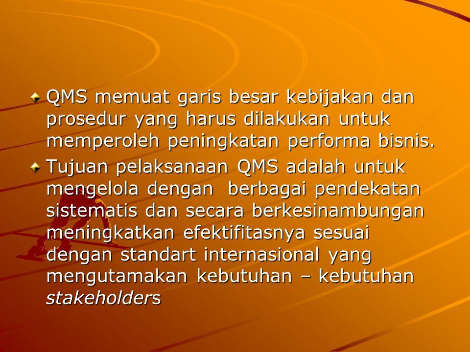 QMS memuat garis besar kebijakan dan prosedur yang harus dilakukan untuk memperoleh peningkatan performa bisnis.
