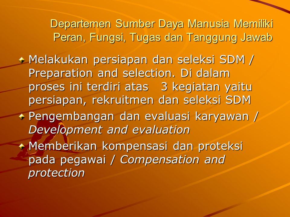 Departemen Sumber Daya Manusia Memiliki Peran, Fungsi, Tugas dan Tanggung Jawab
