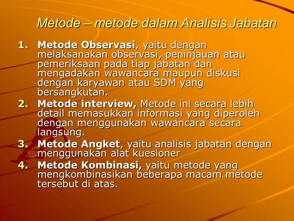 Metode – metode dalam Analisis Jabatan