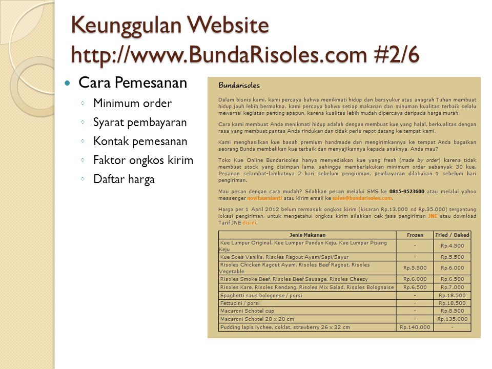 Keunggulan Website http://www.BundaRisoles.com #2/6