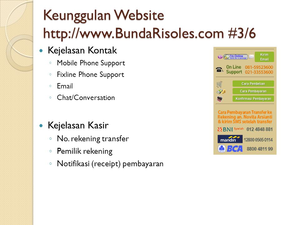 Keunggulan Website http://www.BundaRisoles.com #3/6