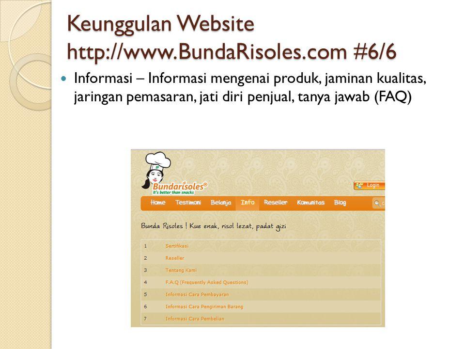 Keunggulan Website http://www.BundaRisoles.com #6/6