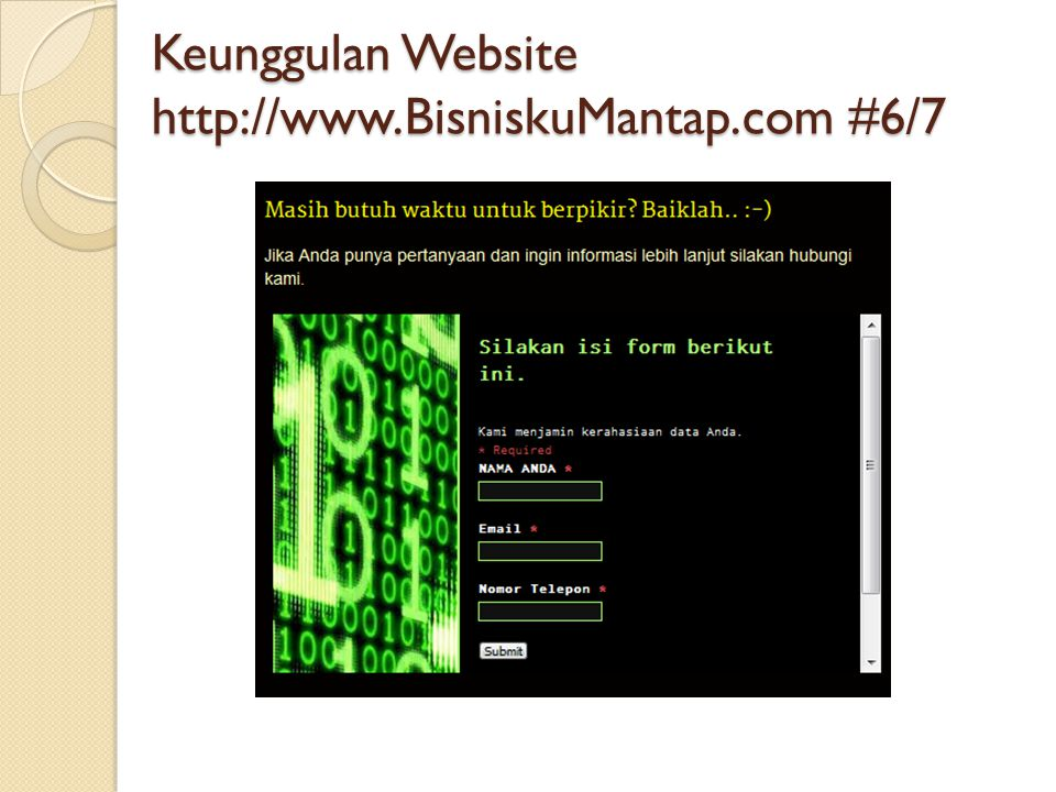 Keunggulan Website http://www.BisniskuMantap.com #6/7