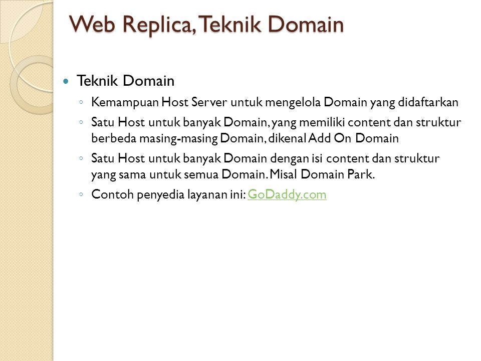 Web Replica, Teknik Domain