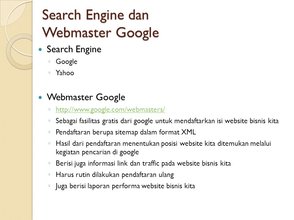 Search Engine dan Webmaster Google