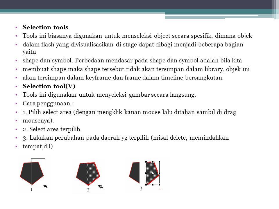 Selection tools Tools ini biasanya digunakan untuk menseleksi object secara spesifik, dimana objek.
