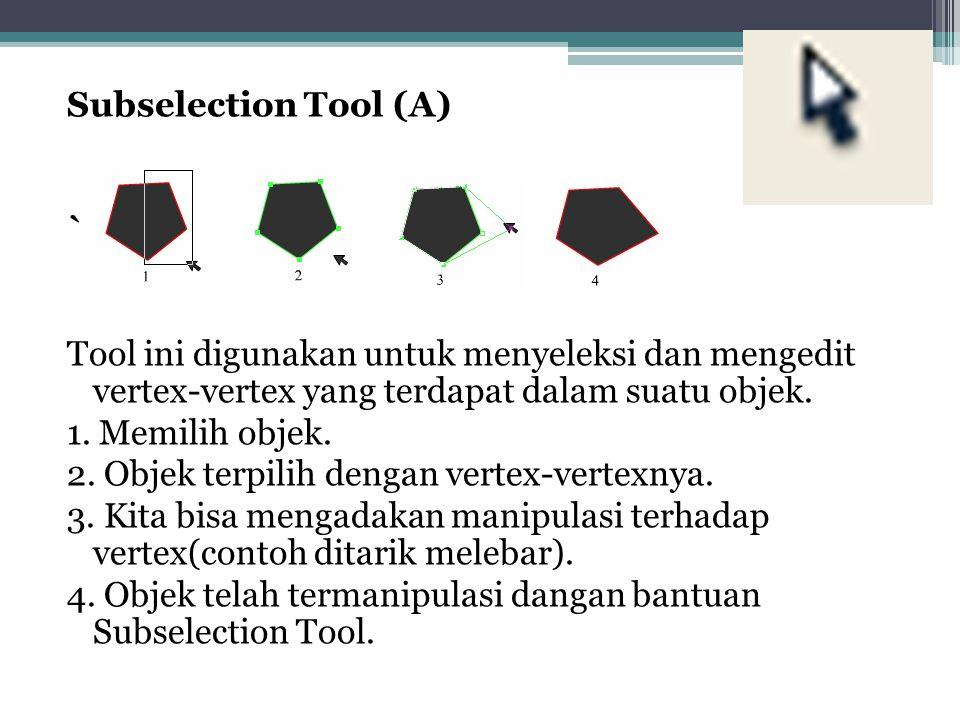 Subselection Tool (A) ` Tool ini digunakan untuk menyeleksi dan mengedit vertex-vertex yang terdapat dalam suatu objek.