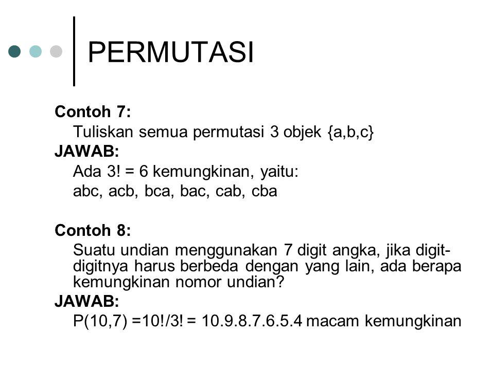 PERMUTASI Contoh 7: Tuliskan semua permutasi 3 objek {a,b,c} JAWAB: