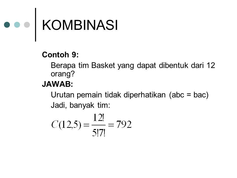 KOMBINASI Contoh 9: Berapa tim Basket yang dapat dibentuk dari 12 orang JAWAB: Urutan pemain tidak diperhatikan (abc = bac)
