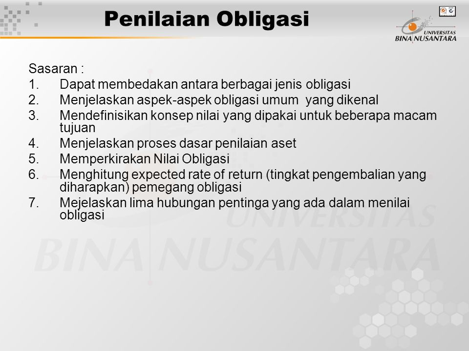 Penilaian Obligasi Sasaran :