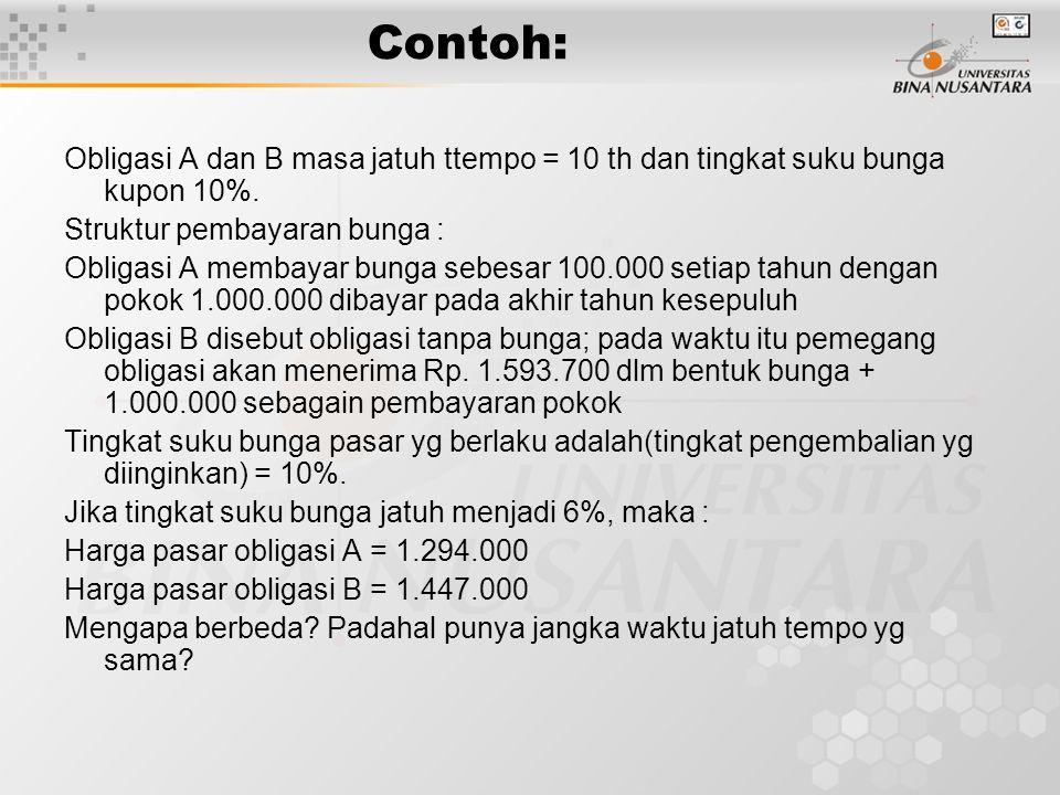 Contoh: Obligasi A dan B masa jatuh ttempo = 10 th dan tingkat suku bunga kupon 10%. Struktur pembayaran bunga :