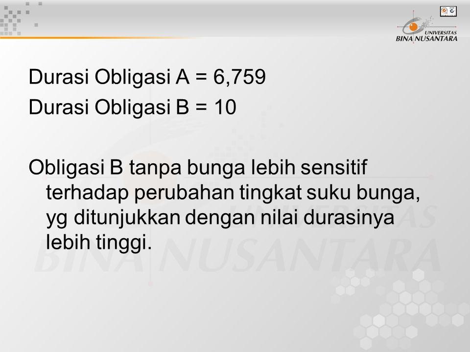 Durasi Obligasi A = 6,759 Durasi Obligasi B = 10.