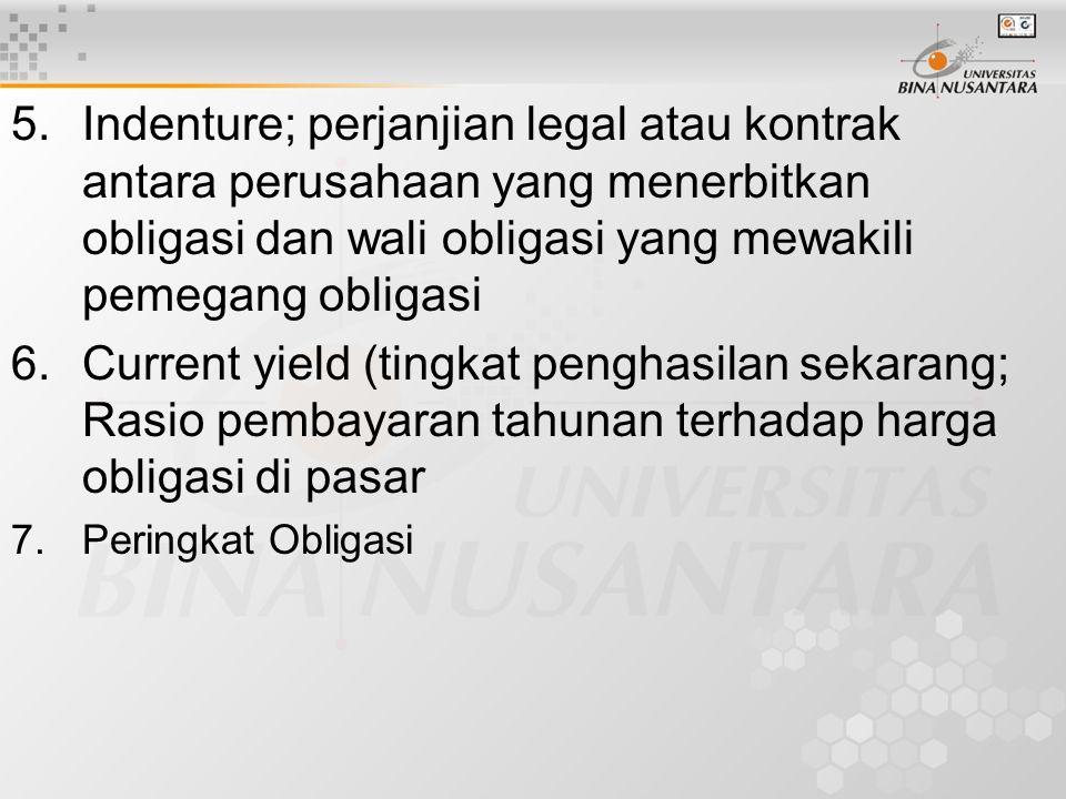 Indenture; perjanjian legal atau kontrak antara perusahaan yang menerbitkan obligasi dan wali obligasi yang mewakili pemegang obligasi