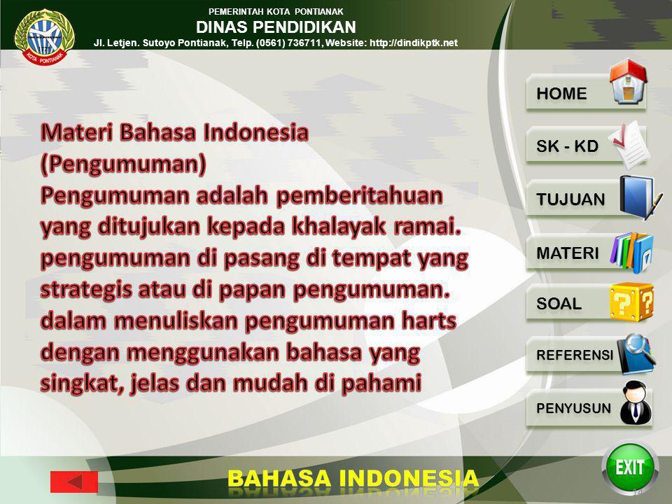 Materi Bahasa Indonesia (Pengumuman)